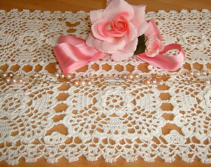 Featured listing image: Rectangular placemat made by hand crochet. White Cotton Center. Shabby chic. Lace centerpiece. Romantic House.