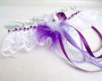 Garter wedding handmade lace feathers