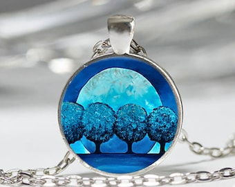 Necklace glass cabochon blue trees