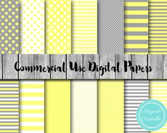 Yellow and Gray Digital Papers, Commercial Use, Neutral Color Scrapbook Digital Papers, Digital Background, DP25