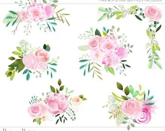Commercial Use Clipart, Commercial Use Clip Art, Watercolor Clipart, Watercolor Floral Clipart, Floral Clipart, Watercolor Floral, Floral