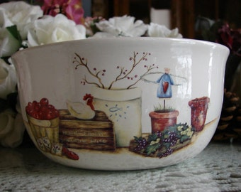 A Farmer's Market! Large Ceramic Yarn Bowl / Yarn Holder