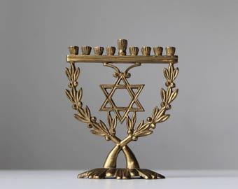 Vintage menorah, Hanukkah menorah, Small menorah, Jewish holidays, Judaica, Apartment size menorah, Travel size menorah, Festival of Lights