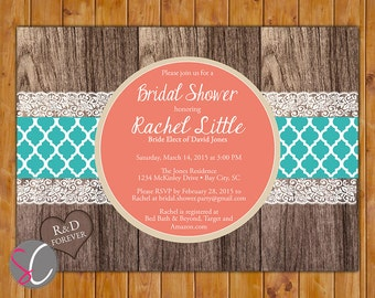 Coral Teal Rustic Invite Country Bridal Shower Invitation Elegant Wood Look Invite 5x7 Digital JPG Printable Invite (429)