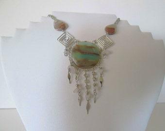 Stunning Peruvian Opal Stone Necklace GY-2LHY-6R8E