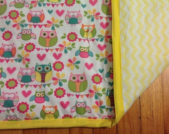 Baby quilt - owls and yellow chevron