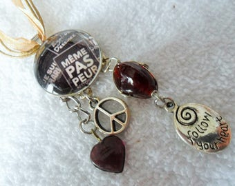 Glass Cabochon necklace even not afraid - silver charms peace Follow bead