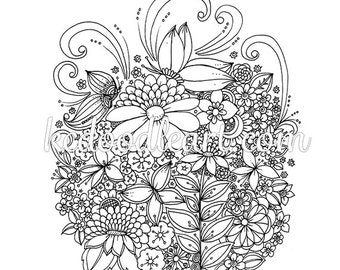instant digital download - PDF or JPEG coloring page for adults and children - flower designs - butterfly