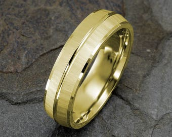 Mens Wedding Band, 14k Solid Gold Wedding Ring, Gold Mens Ring, Solid Gold Ring, Yellow Gold Mens Wedding Band, 6mm Band, Personalized Ring