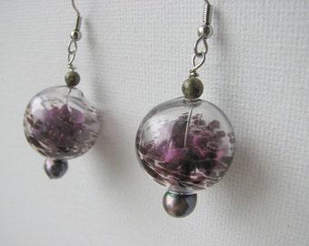 Dangle earrings | purple pearl | blown glass rounds | botanical | dried flowers | final sale