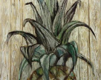 "Pineapple. Chalk on wood (41.5"" X 31.5"")"
