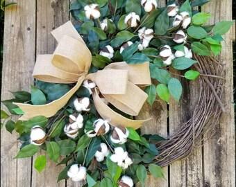 Cotton Wreath, Everyday Wreath, Country Wreath, Ficus Wreath, Fixer Upper Decor, Outdoor Wreaths, Farmhouse Wreath, Summer Wreath, Rustic