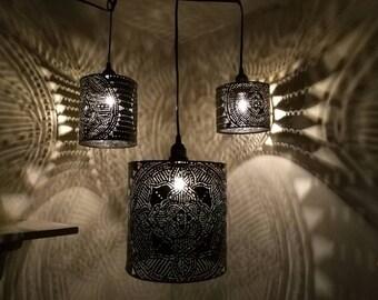 Mandala pendant shadow lamp, torch cut metal lighting plug in pendant light, hard wire kit recycled art welded art lighting. Yoga studio