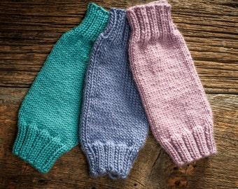 Knit baby leg warmers - purple or blue