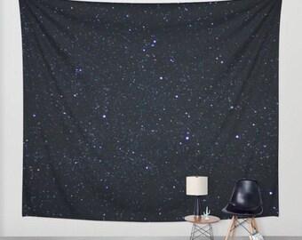 stars wall hanging, stars tapestry, night sky, starry night, bohemian, nursery decor, space, dark, three sizes