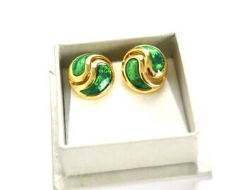 Green Enamel Earrings / Clip On Earrings / Signed Earrings / Green Art Deco Earrings / Green Earrings / Boho Earrings / Statement Earrings