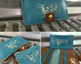 Music Forever wallet, teal and brown leather wallet, bifold leather wallet