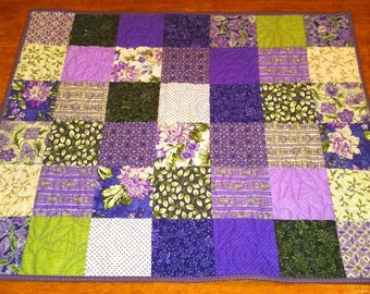 """Purple Table Topper, 30.5"""" x 25"""" Quilted Table Topper, Quilted Purple Table Topper, Kitchen Fabric, Quilted Floral Table Topper"""