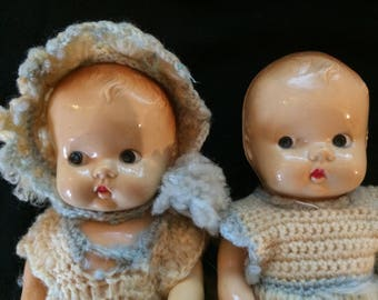 Vintage Pair of Hard Plastic Dolls, Twin Dolls, Boy and Girl, in Hand Made Crochet Knitted Outfits - 1950