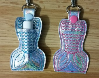 Embroidered Mermaid Tail Chapstick Holder Key Chain Fob