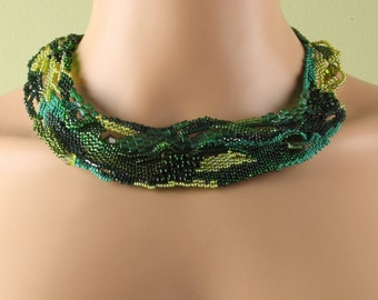 "Shades of Green Beadwork Freeform Peyote Stitch Necklace - ""Forest"""