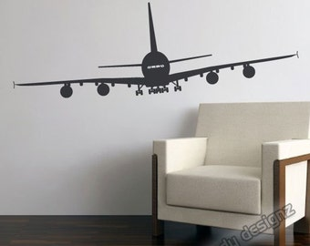 Airplane Wall Decal | Aviation Wall Decor | Airplane Nursery Decor | Airplane Room Decor | Nursery Wall Art | Vinyl Wall Decal | 48in