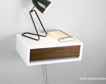 Mid Century Modern Nightstand With Door, Floating Retro Style Nightstand  Table, Wall Mount Side Table, Bedside Table