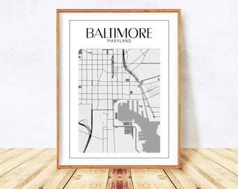 Baltimore, Baltimore Maryland, Baltimore Print, Baltimore Wall Art, Baltimore Map, Baltimore Poster, Maryland Map, City Map Instant Download