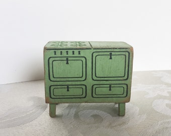 Vintage Green Wooden Kitchen Stove Oven Dollhouse Furniture Strombecker  1930u0027s Toy Doll House Painted Wood Furniture