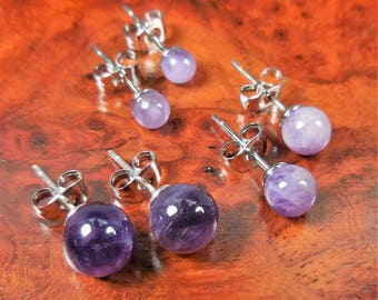 Amethyst Earrings - 8 mm 6mm 4mm Purple Gemstone Studs Polished Crystal Ball Jewelry Silver Stud Earring (H19) Healing Crystals And Stones