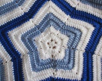 Blue Baby Blanket, Star Baby Blanket, Lap Afghan, Crochet Baby Blanket, Blue Baby Afghan, READY to SHIP, Baby Shower Gift, Baby Boy Blanket