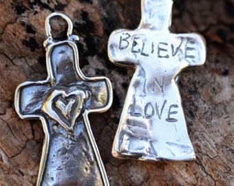 Believe in Love Cross Sterling Silver Pendant, PS269