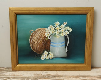 Vintage Original Oil Painting Daisies