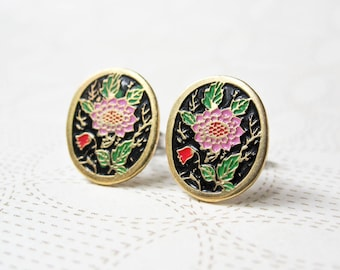 Pink Dahlia Earrings - Black Background - Enaeml Earrings - Flower Enamel - Oval - Surgical Steel Earrings - Stud Earrings - Vintage Enamel