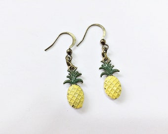 Pineapple Dangling Earrings: tropical fruit jewelry