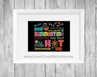 Summer Time Words Cross Stitch Pattern Modern, PDF Pattern, Quote Cross Stitch, Summer Cross Stitch, Colorful Cross Stitch, Summertime