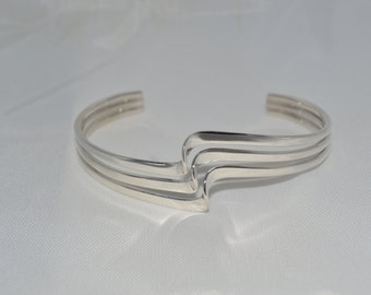 Tri-Style Sterling Silver Cuff Bracelet Free Shipping (US)