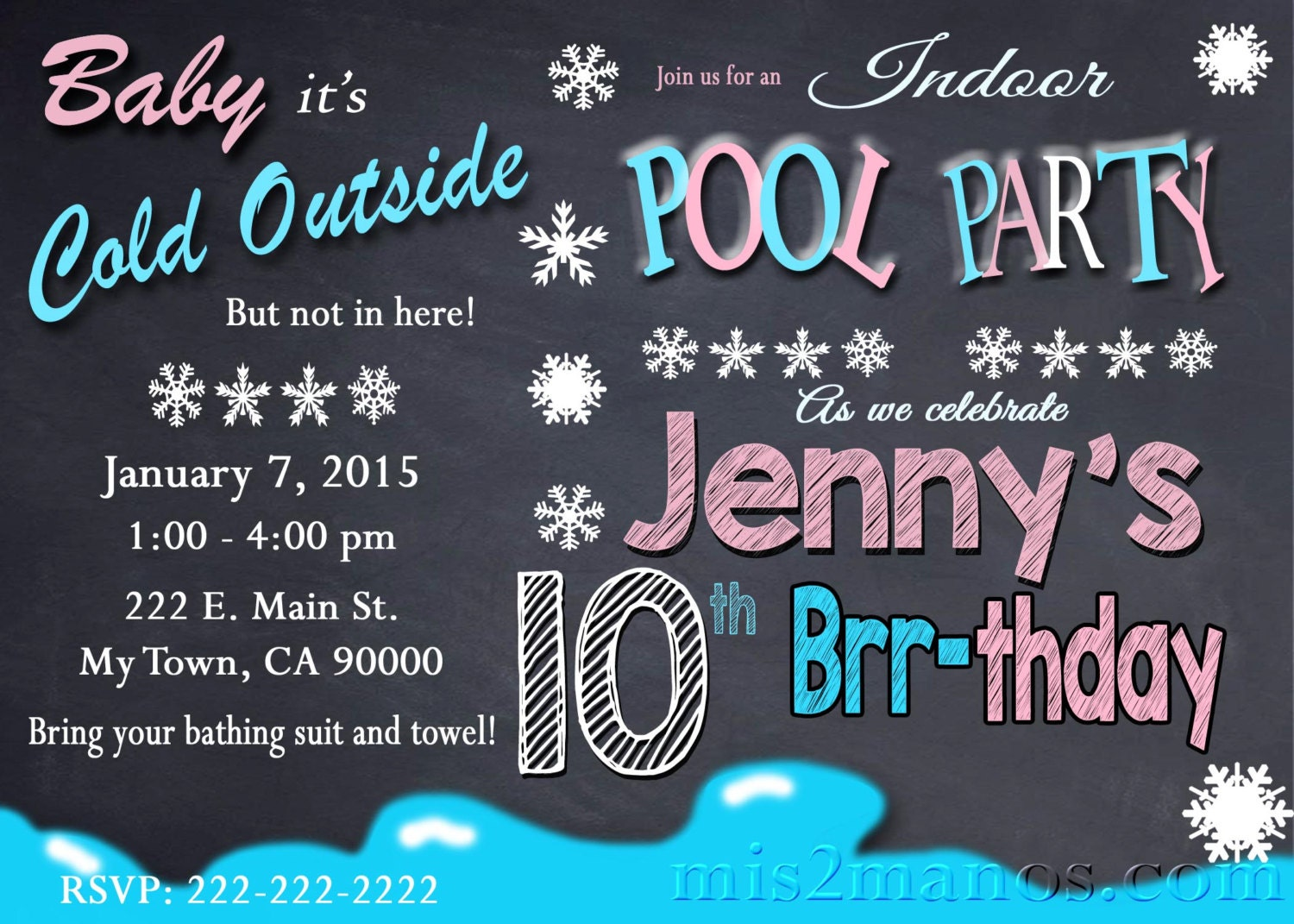 Printable WINTER POOL PARTY Invitation Winter Birthday