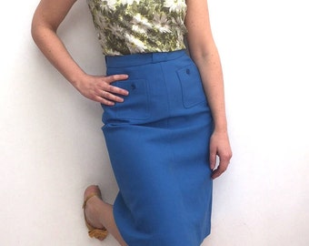 Vintage blue French Tricel A line skirt with pockets size 10