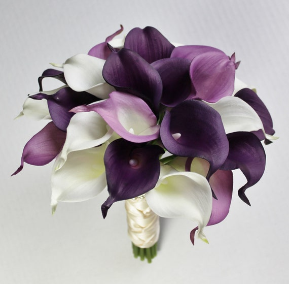 purple calla lily wedding bouquets wedding bouquet purple calla bouquet purple bouquet real 6885