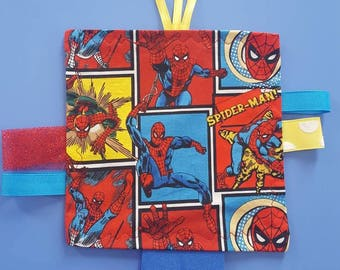 Spiderman Inspired Crinkle Tag Toy,  Ribbon Tag Toy,