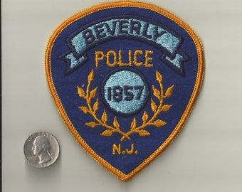 Vintage Beverly Police Patch ~  Burlington County, New Jersey ~ Law Enforcement ~ Probable Circa 1980s ~ Unused, Outstanding Condition
