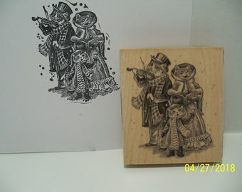 Cat Carollers wood mounted rubber stamp