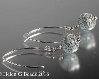 Sterling silver and  lampwork glass earrings in turquoise, duck egg by Helen Gorick