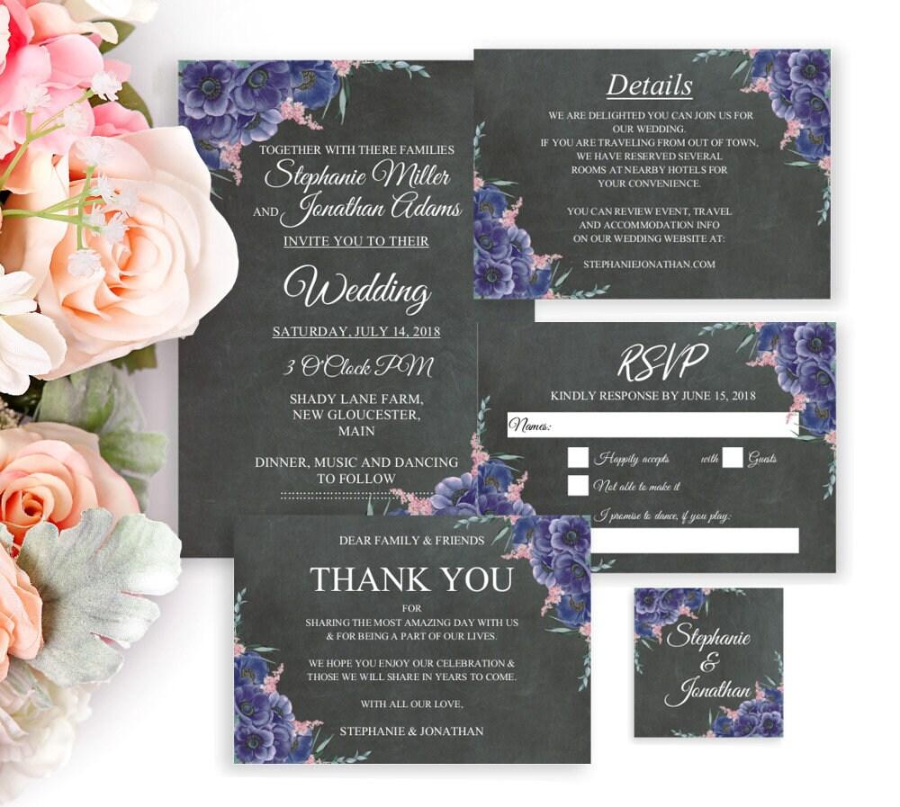 Boho Hochzeitseinladungen, Editierbare Vorlagen, Druckbare Einladungen, DIY  Hochzeit Set, PDF, Scheunenhochzeit, Rustikale Hochzeit