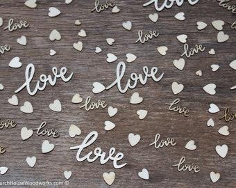 100 pieces love Cursive words and tiny heart mix, Wedding receptions, wedding table decor, wedding confetti, love wood, love wood shape
