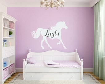 Large Horse Vinyl Wall Decal Personalized With Name Boy Girl Bedroom Wall Decal Equestrian Cowboy Cowgirl