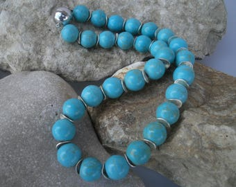 "Magnesite chain 14 mm ""Turquoise London-style"" #321"