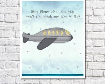 Airplane Nursery Art Boy Nursery Airplane Decor Travel Theme Baby Shower Aviation Nursery Baby Boy Bedroom Flying Quote Print Plane Wall Art