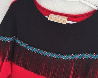 Vintage 80s Western Fringe Bon Jour Sweatshirt